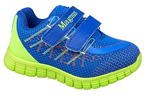 gibra - Zapatillas de sintético/textil para niño Azul - azul/verde fluorescente