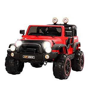 Uenjoy Jeeps Power Wheels 12V Children's Electric Cars Wrangler Kid's Ride on Cars with Remote Control 4 Speeds Red
