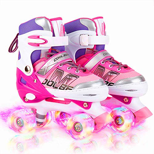 Otw-Cool Adjustable Roller Skates for Girls and Women, All 8 Wheels of Girl's Skates Shine, Safe and Fun Illuminating for Kids