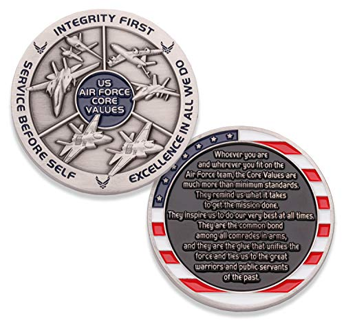 Air Force Core Values Challenge Coin - United States Air Force Challenge Coin - Amazing US Air Force Military Coin - Designed by Military Veterans!