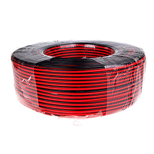 100' Low Voltage Wire (Wellite 100FT 18-2 AWG Gauge Electrical Wire, Low Voltage for Landscape Lighting System, Red&Black Parallel Wire)