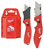 Milwaukee Fastback Flip Utility Knife 2 Piece Set with Razor Blade Dispenser and Disposal (50 Blades Included)