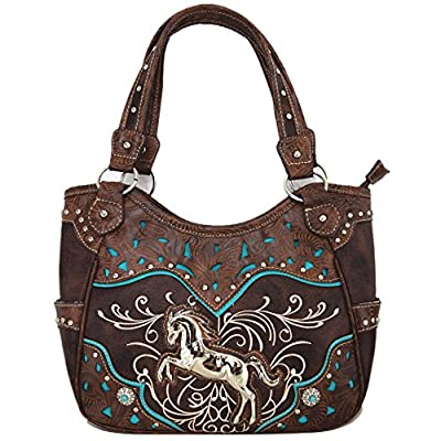Tooled Leather Laser Cut Concealed Purse Horse Country Western Cowgirl Handbags Shoulder Bags Wallet Set