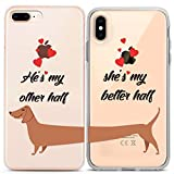 Lex Altern Couple Matching iPhone Case Xs Max X Xr 10 8 Plus 7 6s 6 SE 5s 5 TPU Cute Dog Phone Cover My Better Half Clear Relationship Gift Girlfriend Silicone Anniversary Girly Protective Adorable