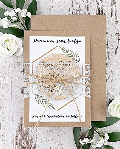 20 Lace Wedding Save The Date Rustic Wood Save The Date Rustic Save The Date Invitation Wooden Save The Date  SET of 20