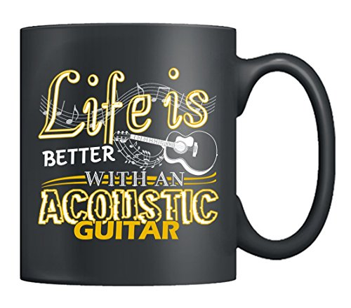 Acoustic Guitar Mug (Acoustic Guitar Mugs - Acoustic Guitar Coffee Mug, Tea Cup Black, Perfect Gifts For Acoustic Guitar Player (Black))