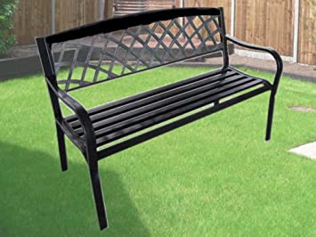EXPRESS TRADING BLACK 3 SEATER METAL GARDEN OUTDOOR LATTICE BACK