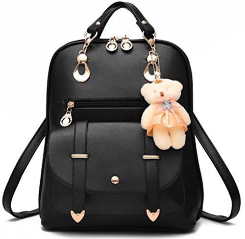 Cuoio Fashion viaggio zaino di Girl tracolla Nero dello Le donne Scuola dello sintetico Zaino a del Borsa OUYqxZw