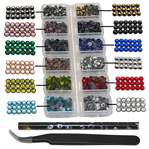 Hotfix Rhinestones SS16 Glass Stones Hot Fix Flatback Crystals Iron on Embellishiments for Crafts Clothing Shoes T Shirts Card Making with Tweezers and Picking Rhinestones Wax Pen, Mix 12 Colors, 4MM