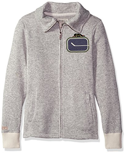 adidas NHL Vancouver Canucks Womens CCM Fleece Track Jacketccm Fleece Track Jacket, Grey Heathered, X-Large