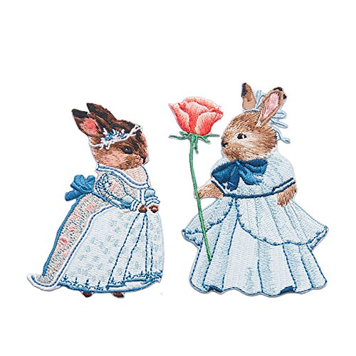 Fairy Applique - 2 Pack Delicate Embroidered Patches, Fairytale Rabbits Embroidery Patches, Iron On Patches, Sew On Applique Patch, Custom Backpack Patches for Boys, Girls, Kids, Super Cute!