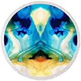 Pixels Round Beach Towel With Tassels featuring ''Enlightenment - Abstract Art By Sharon Cummings'' by Sharon Cummings