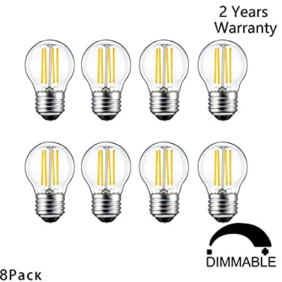 CanYa 4W Vintage Edison LED Light Bulbs Dimmable Mini Globe LED Filament Bulb G14(G45) Style 2700K Warm White 400Lm 40W Incandescent Bulb Replacement E26 Base 360 Degrees Beam Angle 8 Pack