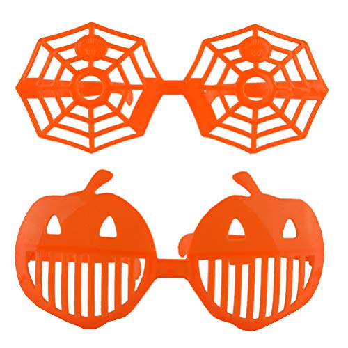 PTS Party Eyeglasses Halloween Photo Selfie Props Eyewear Night Party Favors Carnival Eye Glasses Accessories 2Pcs (Pumpkin Glasses + Spider Web Glasses)]()