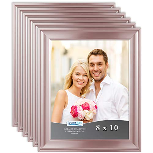 Icona Bay 8x10 Picture Frame (6 Pack, Rose Gold), Rose Gold Photo Frame 8 x 10, Wall Mount or Table Top, Set of 6 Elegante Collection