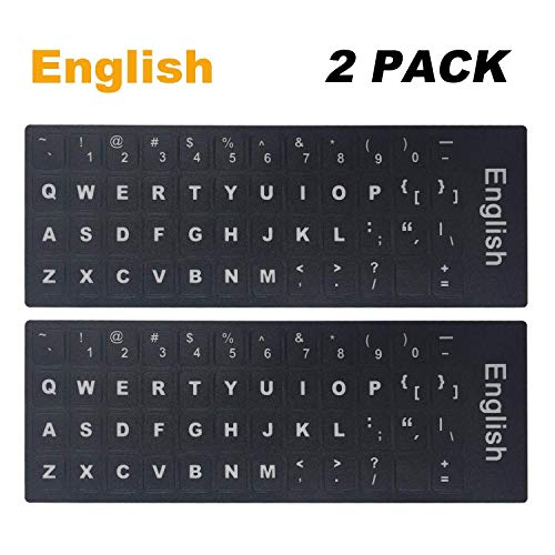 [2PCS Pack] Universal English Keyboard Stickers, Typing Keyboard Stickers Black Background with White Lettering for Computer (English) ()