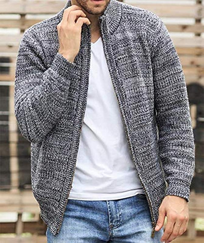 Lannister Fashion męski płaszcz dziergany jesień zima kołnierz stÓjka odzież plain artykuły dziewiarskie kolor stylowy długi rękaw suwak sweter kurtka dzianina Outerwear: Odzie&