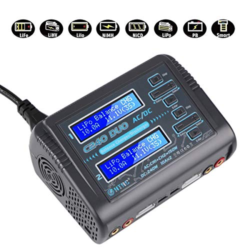 Innovateking HTRC C240 LiPo Charger Duo Dual Balance Charger AC 150W DC 240W 10A C240 1-6S for Li-ion Life NiCd NiMH LiHV PB Smart Battery RC Battery Bulit-in Supply ()