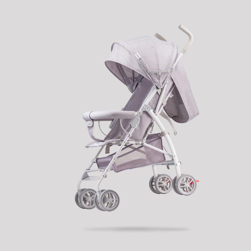赤ちゃんのベビーカーのベビーカー超軽量ポータブル折り畳み式の子供の傘の座席は、リムーバブルで洗濯可能なカート、ライトグレー、57 * 44 * 88cmの上に横たわることができます B07BXHDR7F