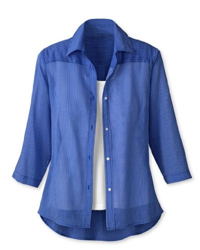 Coldwater Creek Tonal Stripe Shirt  Cobalt  Extra Small  4