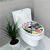 Toilet Seat Sticker Spring Collage with Twiggy Cherry Blossom Sakura Trees and Jasmine Branches Environmental Multi W8 x L11