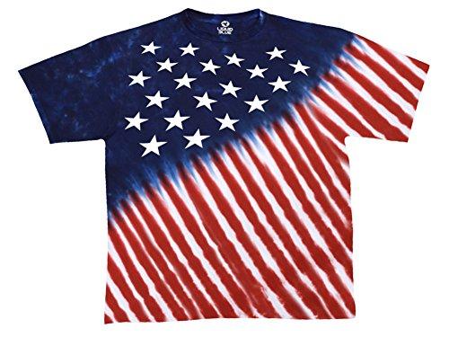 Liquid Blue Men's Plus-Size Stars and Stripes T-Shirt, Tie Dye, X-Large