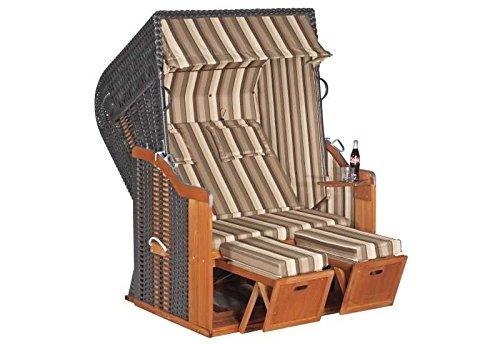 Sunny Smart Strandkorb Rustikal 250 Plus Stoff-Nr. 1200, Halbliegemodell Außenmaß (B x T): 125 x 90 cm Gesamthöhe: 160 cm Geflecht: Kunststoffgeflecht beige Ausführung: Halbliegemodell Stoff: Nr. 1200, anthrazit gestreift