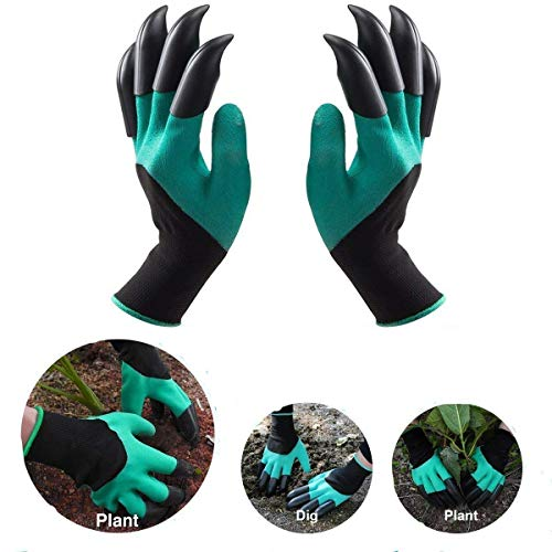 HOTNNBB Garden Gloves with Fingertips Claws Quick– Great for Digging Weeding Seeding poking -Safe for Rose Pruning –Best Gardening Tool -Best Gift for Gardeners (Claws on Each Hand 2 Pairs, Green)