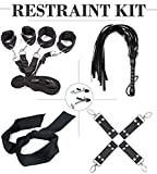 Handcuffs Set (5 in 1) - Black Handcuffs Kit for Women Men - Adjustable Wrist Ankle Hand Cuffs - an Interesting Gift Idea