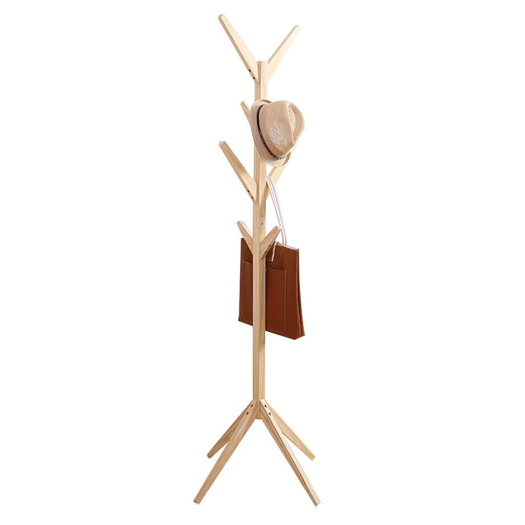Mefedcy Free Standing Bamboo Tree-Shaped Display Coat Rack Stand Solid Feet for Clothes Scarves and Hats Bamboo Natural Color (Yellow, 175cm)