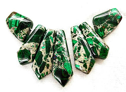 - 1set 11pcs 20-50mm Natural Sea Sediment Imperial Jasper Stone Nested green\blue Rectangle Column bead Graduated Necklace pendant
