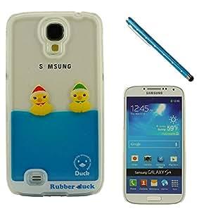 Samsung Galaxy S4 i9500 Dura Funda, Samsung Galaxy S4 Case Cover, Alta calidad Claro Transparente Hard Carcasa, Líquido Estilo Cáscara Protectora Resistente a los golpes, Hermosa Pato Flotante, Amarillo Rubber Duck + Bonita Stylus Pen – Azul