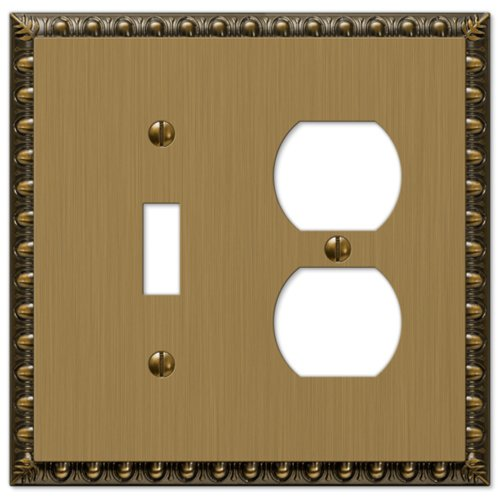 Amerelle Egg & Dart Single Toggle/Single Duplex Cast Metal Wallplate in Brushed Brass