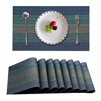 Candumy Blue Placemats for Dining Table Washable High Temperature Resistant Non-Skid,Crossweave Woven Textilene Vinyl PVC Placemats for Kitchen and Dining Set of 8 - The size for each placemat is 45*30cm (17.7*11.8 Inch); Package includes 8 placemats in a set; With high quality and environmental material of 70% PVC and 30% polyester Exquisite design and practical: can be used for kitchen table, dinner hall, hotel and business office ;The dinner table mats effective insulation could reach to 186℉, could protect dinning table from scalding. For a better user experience and to ensure the quality of the table mat, our products are strictly selected and checked to maintain the same size, please rest assured to buy. - placemats, kitchen-dining-room-table-linens, kitchen-dining-room - 51ihUEXr07L. SS400  -