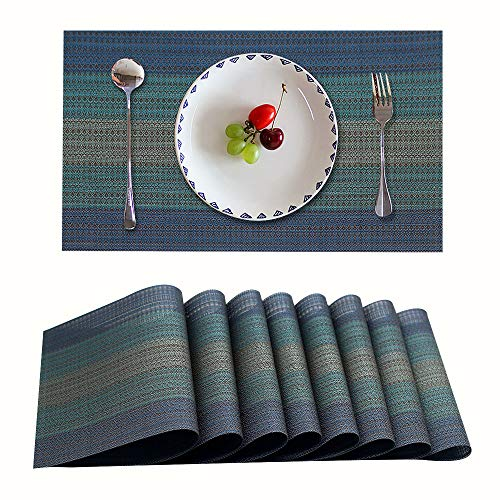 Candumy Blue Placemat Blue Table Mats,Heat Stain and High Temperature Resistant;Anti-Skid Washable Non-Slip Insulation;Crossweave Woven Textilene Vinyl PVC for Kitchen and Dining Set of 8