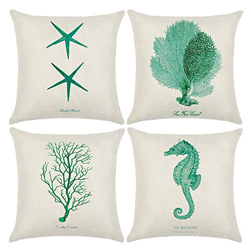 (Kissmuyan 24 x 24 Inches Decorative Ocean Park Theme Outdoor Pillow Cover Cushion Cover Set Cotton Linen for Sofa Bedroom Car Starfish Seahorse Coral Branch (Set of 4))