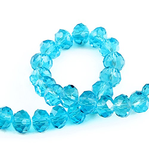 Bingcute 300Pcs 6x8mm Aquamarine Crystal Faceted Rondelle Beads