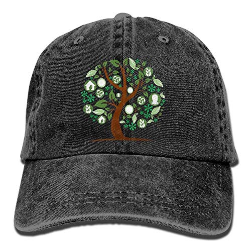 JHDHVRFRr Hat Abstract Tree Denim Skull Cap Cowboy Cowgirl Sport Hats for Men Women