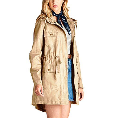 Fashionazzle Women's Versatile Military Anorak Safari Jacket (Large, MSJ06-Khaki/Solid) (Jacket 2 Safari)
