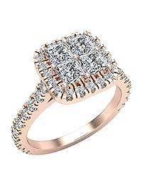 Princess Cushion Halo Diamond Engagement Ring 1.38 ctw 14K Gold (G,I1)