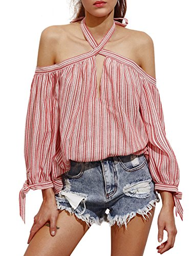 ROMWE Women's Casual Striped Halter Off Shoulder Long Sleeve Blouse Shirt Tops Red L