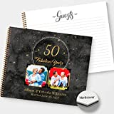 HARDCOVER Golden Years Landscape Personalized Photo Anniversary/Birthday Guestbook, Satin Matte finish, lay flat wire-o spiral binding, Choose from 2 sizes, Lined pages.
