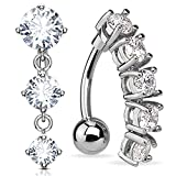 BodyJ4You 2PC Reverse Belly Button Ring Jeweled Top Down Navel 14G Surgical Steel Curved Barbell 1.6mm
