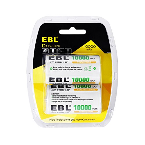 Nimh Cells Nickel Metal - EBL 2 PacksD Cells Ni-MH Battery 10,000mAh Rechargeable Batteries with Retail Package