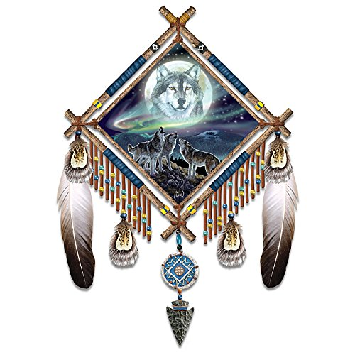 Al Agnew Northern Lights and Wolf Art Dreamcatcher