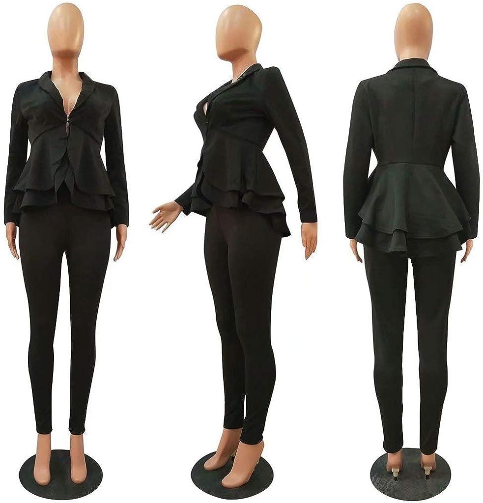 OLUOLIN Women/'s Elegant 2 Piece Blazer Suit Deep V Neck Ruffle Top Bodycon Long Pant Set with Belt/…