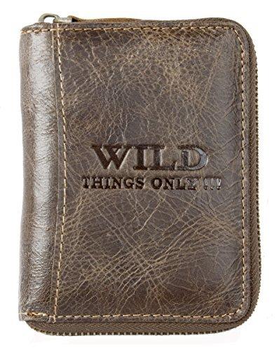 Dark Brown Genuine Leather Wallet Wild with Metal Zipper Around