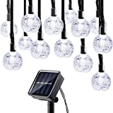 Icicle Solar String Lights, 20ft 30 LED Solar Powered Fairy Globe String Light for Indoor/Outdoor, Christmas, Home, Patio, Lawn, Garden, Wedding, Party Decorations(White)
