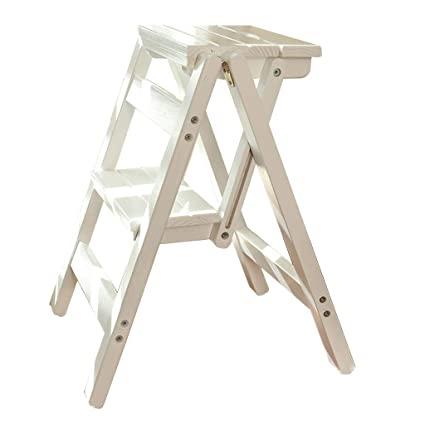 Magnificent Amazon Com Solid Wood Step Stool Home Folding Ladder Chair Short Links Chair Design For Home Short Linksinfo