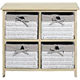 Rebecca srl Chest of Drawers Cabinet 4 Baskets REBECCA COUNTRY Wood Wicker Beige White Shabby Bathroom Bedroom (Cod. RE4322) by Rebecca srl